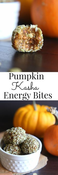 A quick and easy, vegan and gluten free grab and go snack with all the spice of your favorite pumpkin pie; Pumpkin Kasha Energy Bites Vegan and GlutenFree | Vanilla And Bean