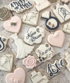 Find some good ideas for bridal shower cookies and wedding cookies to use for your wedding. Some good options for fall weddings, spring weddings and summer weddings! Elegant cookies as well as rustic Wedding Shower Cookies, Bridal Shower Desserts, Wedding Desserts, Bridal Shower Decorations, Bridal Showers, Bridal Shower Cupcakes, Wedding Dress Cookies, Cookie Wedding Favors, Wedding Cupcakes