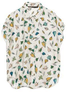 chemise courte en soir blanche à fuilles verte et jaune, soldes zara