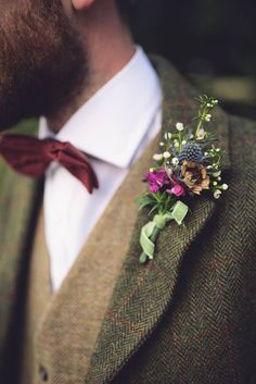 Bow Tie Groom Thistle Buttonhole Ribbon Hand Crafted Vintage Woodland Wedding www. Wedding Groom, Wedding Attire, Boho Wedding, Summer Wedding, Dream Wedding, Wedding Vintage, Wedding Reception, Tweed Wedding Suits, Destination Wedding