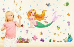 Muursticker zeemeermin met zeedieren voor de meisjeskamer