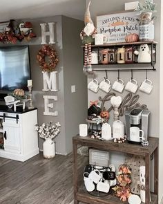 Farmhouse living room wall decor behind couch 28 ideas for 2019 Fall Home Decor, Diy Home Decor, Coffee Bar Home, Coffe Bar, Coffee Bar Ideas, Coffee Shop, Coffee Corner, Coffee Bar Design, Coffee Area