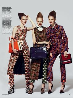 Anni Jurgenson, Hannah Noble and Maria Pilliroog for How to Spend It, September 2012.  Photographed by Kevin Sinclair.