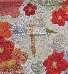 "detail, ""Early Spring, Fantastic Blooms..."" by Mihoko Tanaka (Japan). 2015 Pacific International Quilt Festival. Photo by Quilt Inspiration."