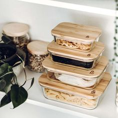 Pantry Goals - Irene Klassen - Pantry Goals Eco Stow Set by Seed & Sprout - Home Organisation, Kitchen Organization, Kitchen Storage, Kitchen Pantry, Kitchen Items, Kitchen Decor, Glass Containers, Bamboo Containers, Food Storage Containers