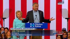 Tim Kaine's First Speech As Clinton VP Nominee | Full + HD - YouTube