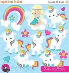 80% OFF SALE Baby Unicorn clipart commercial use, unicorns vector graphics, rainbow digital clip art, digital images  - CL937