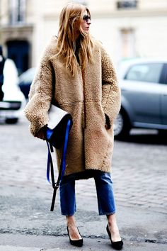 fur, shearling, skin, black heels, jeans style, blonde, long hair, jacket, winter coat, purse, white, blue, neutral from: theepitomeofquiet