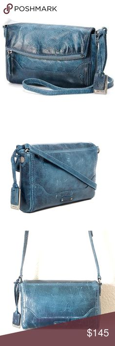 FRYE MELISSA FOLD-OVER BLUE LEATHER CROSS-BODY Gorgeous FRYE distressed leather cross-body. Brand new w/tags & Dust Bag.    SELLERS NOTE:  •All items are inspected and described as thoroughly and honestly as possible.  •Items are sold as is (as described)  •Each order is packaged with extreme CARE & SHIPPED SAME/NEXT BUSINESS DAY, unless seller communicates otherwise.  •Buy with comfort from a top seller (refer to love notes) •Sellers goal is to make EVERY customer happy! Frye Bags Crossbody…