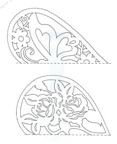 Easy Paper Cutting Patterns | the top one has the butterfly, the bottom one a pretty roses pattern