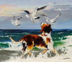 Painting gallery A retrospective of Christian Jequel Christian Jequel peinture au couteau Cute Paintings, Animal Paintings, Art Plage, Images D'art, Dog Artwork, Boat Painting, Painting Art, Painting Gallery, Dog Portraits