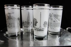 Vintage Texas Commemorative Drinking Glasses Set of 4 Historical Monuments Shell Oil Promotional 150th Anniversary Souvenirs Norman Baxter by SaltwaterVillage on Etsy