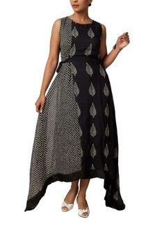 Stylish Black Leaf Printed Dress by Myoho | Indian Designers | Indian Clothes | Dresses