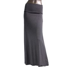 (pre-order) Charcoal Black Striped Maxi Skirt (€30) ❤ liked on Polyvore featuring skirts, charcoal gray skirt, striped maxi skirt, floor length skirts, stripe skirt and ankle length skirt