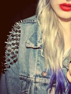 Studded Denim Jacket   try adding studded spikes. Like the pyramid studs, you can find these studs on the website. Apply them by pushing the rivets through the denim, and then use pliers to close the rivets.
