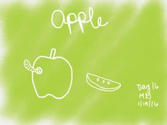 """@lisacongdon's #cbdrawaday challenge day 16: Apple  Since I've drawn apples before I added a worm friend for variety :) I wanted to use new digital tools and found inspiration painting a background color that suits the subject and using #white crayon to """"subtract."""" #art #digital #digitalart #cbdrawadaychallenge #green #apple #apples #grannysmith #worm #earthworm #spraypaint #crayon #sketches #creativebug"""