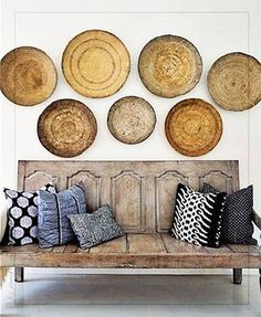 Baskets on wall & bench made from old doors - Australian design duo Taryn Leibowitz and Tamie McLachlan Style At Home, Home Design, Interior Design, Interior Doors, Design Ideas, Wall Design, Modern Interior, Deco Boheme, Living Spaces