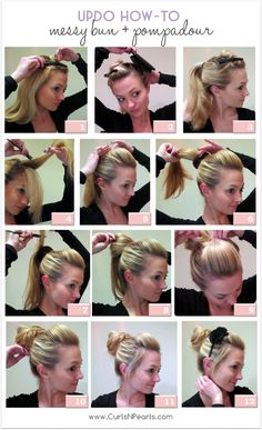 quick and easy tutorial for diy updo messy bun and pompadour