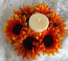 Check out this item in my Etsy shop https://www.etsy.com/listing/472567135/sunflowers-centerpiece-for-candle