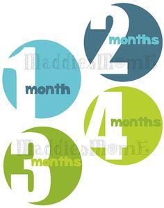 Mensual pegatinas de bebé Baby Boy mes pegatinas hito pegatinas mensuales foto adhesivos mono Stickers (Colby)