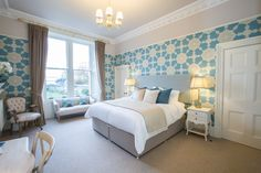Ground floor master bedroom with en suite shower room at Howard Place. Huge room with amazing wallpaper in the most beautiful blue and fantastic shell detail cornicing Cornicing, Amazing Wallpaper, Ground Floor, Master Bedroom, Most Beautiful, Shell, Patio, Flooring, Shower