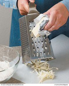 Grate Butter - Instead of the comparatively hard work of cutting in butter with a knife of pastry blender - Great Idea!!