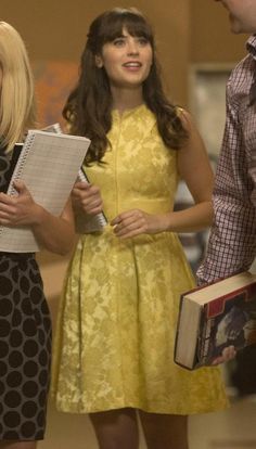 Zooey Deschanel's yellow gold floral dress on New Girl Season 3