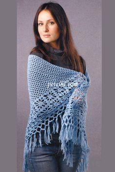 Shawl with Fringe free crochet graph pattern