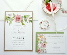 SAMPLE  Vintage Watercolor Rose Garland Wedding от NooneyArt