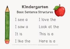 Kindergarten center: Making and Writing Fall sentences with basic sentence structures.
