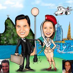 Caricaturas digitais, desenhos animados, ilustração, caricatura realista: Desenho de casal !!