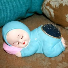Vintage Lego Ceramic Chalkware Sleeping Baby Pin Cushion By Lego Japan Imports 1960s via Etsy