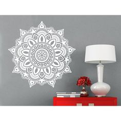 Mandala Wall Decal Yoga Studio Vinyl Sticker Decals Ornament Moroccan Pattern Namaste Sticker Decal Size 22x22 Color