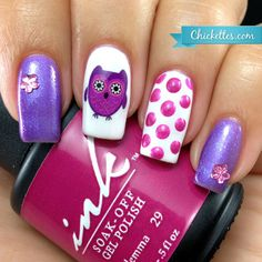 Chickettes.com - Cute purple owl nail decal & pink polka dots!