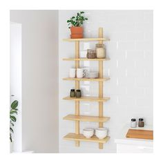 The wall shelf makes it easy for you to see and reach the things you use every day. Ikea Wall Shelves, Wall Shelf Unit, Kitchen Wall Shelves, Storage Shelves, Shelving, Wall Shelf Decor, Kitchen Nook, Kitchen Decor, Ikea Varde