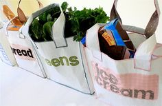 tutorial: make your own grocery totes from plastic bags