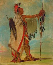 "Tallee, an Osage Warrior, painted by George Catlin. The Osage were originally known by Ni-U-Kon-Ska, which means ""Children of the Middle Waters."" Today they call themselves Wah-Zha-Zhi, which was translated by French explorers as Ouazhigi, which later became the English name Osage. Early settlers have said that the Osages were the largest Native people in North America, with the Osage men averaging over 6 feet tall. In war, they were feared by neighboring tribes."