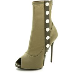 Giuseppe Zanotti Mesh Peep Toe Booties - Military (22.670 RUB) ❤ liked on Polyvore featuring shoes, boots, ankle booties, heels, ankle boots, обувь, heeled ankle boots, platform booties, platform heel boots and platform ankle boots