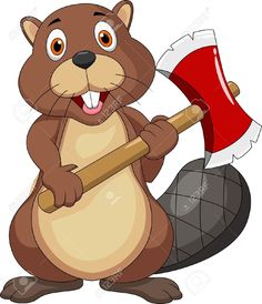 Beaver Cartoon Holding Axe Royalty Free Cliparts, Vectors, And ...
