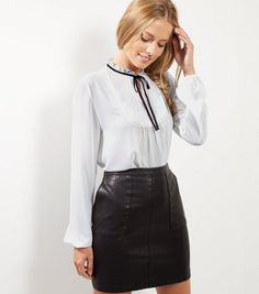 White Tie Neck Ribbed Shirt | New Look