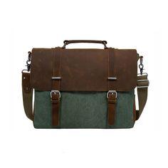 """ECOSUSI Vintage Canvas Leather 14.7"""" Laptop Messenger Bag Men Satchel Briefcase"""