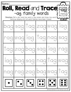 Perfect for BEGINNING readers!! Roll a die, Read the word and TRACE the word! What a FUN way to practice simple CVC words!