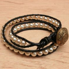 Beaded Wrap Bracelet With Creamy Pearls And Black Leather Bracelets Handmade