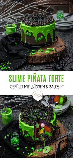 Halloween Slime Piñata Torte gefüllt mit süßem und saurem und getoppt  mit grün eingefärbter Schokolade    Halloween Slime Piñata Cake filled  with candy and topped with green colored chocolate