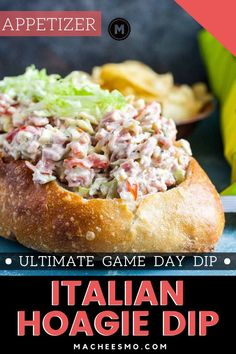 15 minutes · Serves 8 · The ultimate game day dip for your next party is this Italian Hoagie Dip recipe! Classic Italian flavors stirred together and served with crunchy chips! Game Day Appetizers, Low Carb Appetizers, Easy Appetizer Recipes, Yummy Appetizers, Dip Recipes, Appetizer Ideas, Yummy Recipes, Hoagie Dip, Hoagie Sandwiches