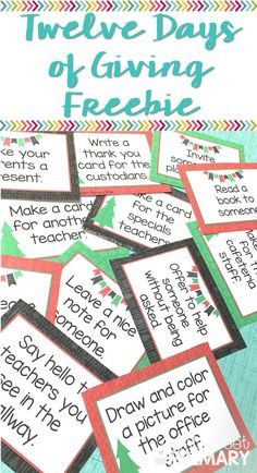 Teach your students how to show caring and consideration for others this holiday season with these free 12 Days of Giving cards. Students do a random act of kindness for different people at the school each day of the holiday challenge. Kindness For Kids, Teaching Kindness, Kindness Activities, Christmas Activities, Random Acts Of Kindness Ideas For School, Christmas Ideas, Kindness Projects, Xmas, Christmas Decor