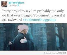 that awkward moment that every kid has...hugging the dark lord.