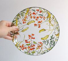 I'm thinking of trying this - glass painting    Glass Dinner Plate  Fall Berries Collection  made to by yevgenia