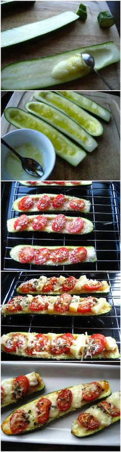 Zucchini Boats - Cut a zucchini in half lengthwise - Scoop out the center - Brush the surface with a mixture of crushed garlic, olive oil, s...