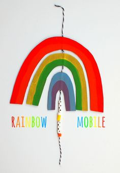 DIY Easy, Breezy Cardboard Rainbow Mobile (Template included) how to make your very own cardboard rainbow mobile- perfect happy craft for kids Art For Kids, Crafts For Kids, Arts And Crafts, Kid Art, Pink Bar, Rainbow Crafts, Thread Painting, Diy Cardboard, Embroidery Files